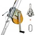 TREUIL DE SECURITE POUR HPTM1, HPTM9 AVEC CABLE DE 20 M, CAPACITE 140 KG, POULIE ET MOUSQUETON (CATEC). HARNAISPRO.